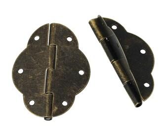 5 x hinge brass antique 5.6 x 4.1 cm