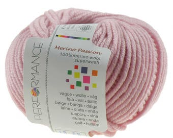 10 x 50 g knitting wool MERINO PASSION SUPERWASH, #03 pink