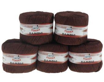 5 x 50 g Knitting yarn bamboo of by VLNIKA, #309 Brown