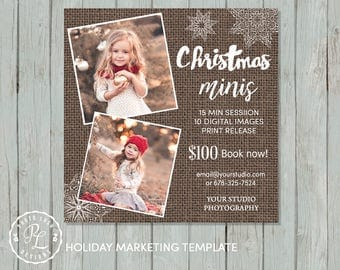 Christmas Mini Session template, Holiday Photography, Holiday Marketing, Photoshop Template, Instant Download, Rustic Burlap,