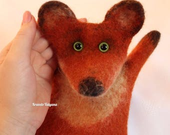 Felted fox, Hand puppet, Bibabo, felted animals, fox puppet, Handmade toy fox, felting, felt toys, felt fox, cute animals, Developing toy