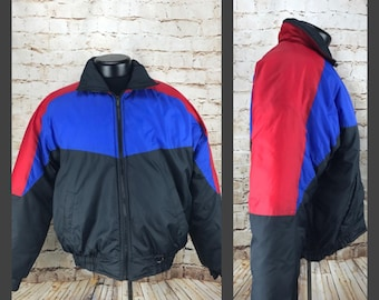 Blue Red Black Color Block Puffy Jacket - Puffy Coat