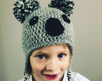 Handmade koala crochet hat beanie