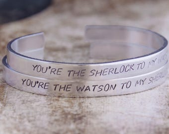 You're The Sherlock To My Watson / You're The Watson To My Sherlock / Sherlock Friendship Bracelet Set / Sherlock Gift Set / Sherlock Holmes