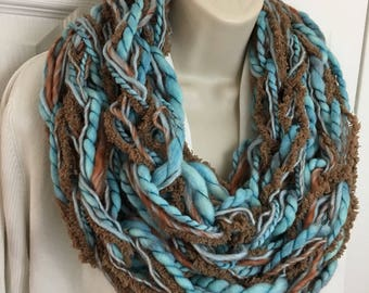 Buy1give1 Extra Long Turquoise Light Blue & Brown Infinity Scarf