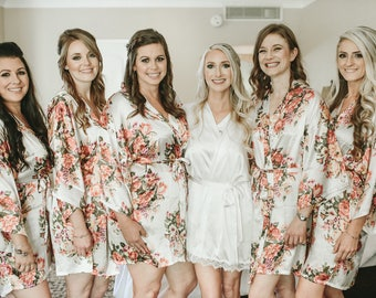 6-Floral Bridesmaid Robes-Bridesmaids Robes for your bridal party- Available Monogramming-Shown In White Floral