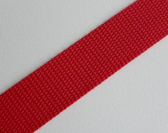 "Red Polypropylene Webbing 25mm (1"") wide x 1 meter"