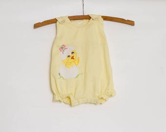 vintage 70s baby girl romper with hatched chic