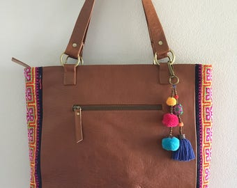Leather Shoulder Bag - Thai vintage fabric - Hmong