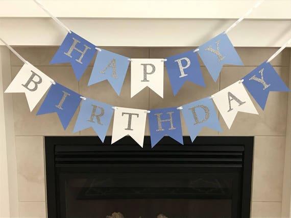 Blue Ombre Birthday Banner Happy Birthday Banner Boy