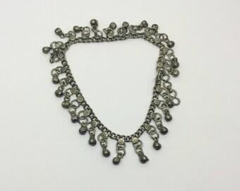 Belly dancer silver ethnic tribal ankle bracelet #428