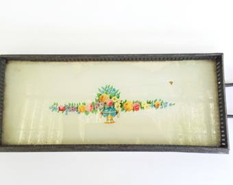 Vintage Metal and Glass Serving Plate 1930's, Glass and Metal Tray