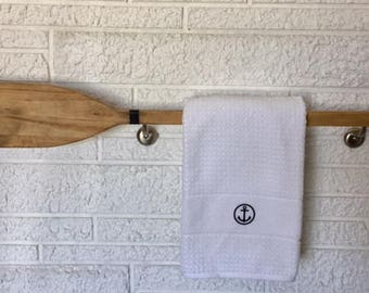 Nautical Towel Rack, Coastal Boat Oar Storage, Towel Bar, Beach House Decor,