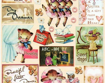 Little Girls Heartwarming Vintage Stickers Crafty Secrets Scrapbook Embellishments Card Making