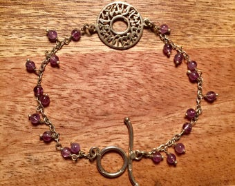 "Beautiful Sterling Silver Bracelet with Arabic Calligraphy and Purple Amethyst Beads. ""Masha'Allah"" - ""God's Will"". BohoCairo"
