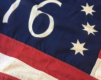 Rare Faded Vintage '76 Bicentennial Valley Forge American Flag