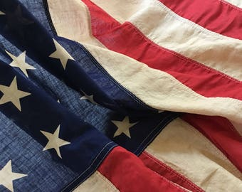 Faded Vintage 48 Star American Flag ** Free Shipping **