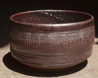 Wheel thrown Chawan Glazed with a Natural Tenmoku