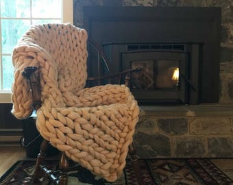 Merino Blanket, Wool Throw, Super Chunky Blanket