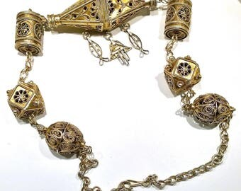 Jewel former southern Tunisia jewelry necklace silver Vermeil symbols Khomsa Houta from Berber Bedouins Touareg