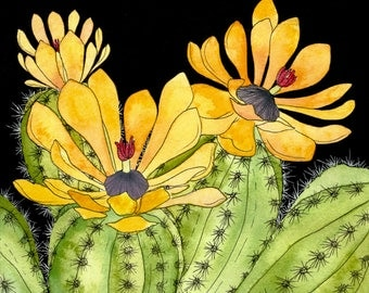 Cactus Bloom Original Watercolor