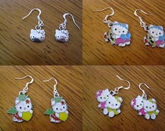 pair of dangle earrings choice, hello kitty
