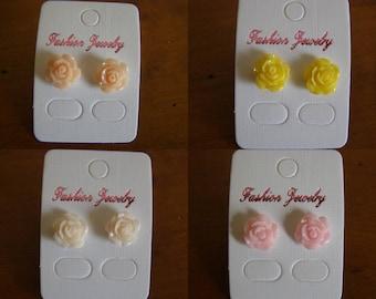 pair choice of bullet earrings, flowers