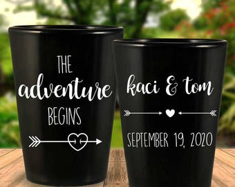 "Custom ""The Adventure Begins"" Tribal Arrows 2-Sided Black Wedding Favor Shot Glasses"