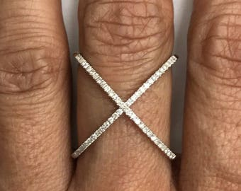 Criss-Cross diamond ring, 14k white gold 1/2 carat TW, wedding band, engagement ring.