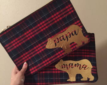Papa bear and mama bear matching plaid pouches
