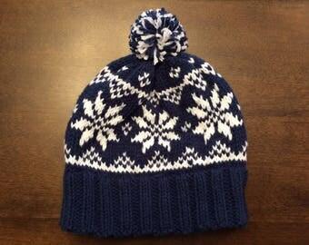 Hand Knit Nordic Hat Fair Isle Snowflake Pom Pom