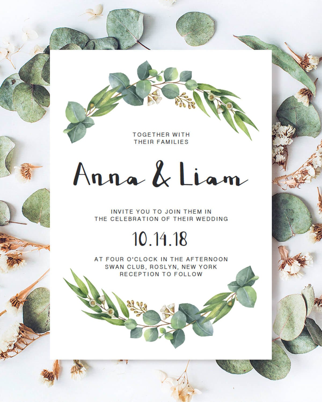 Woodland Wedding Invitation Template, Eucalyptus Wedding Invitation ...