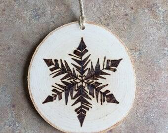 Snowflake Ornament, Woodburned Snowflake Ornament, Woodburned Maine Ornament, Made in Maine Ornament, Birch Ornament, Rustic Ornament