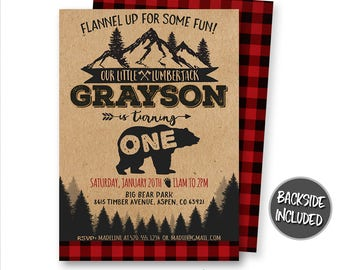 Lumberjack Invitation, Lumberjack Birthday Invitation, Bear Invitation, Red Flannel Invitation, Forest, Invites, Personalized, Printables
