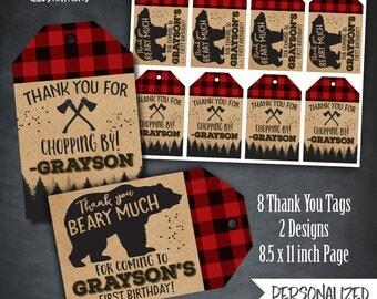 Lumberjack Thank You Tags, Lumberjack Favors, Bear Tags, Lumberjack Party, Flannel Tags, First Birthday, Digital, Personalized, Printables