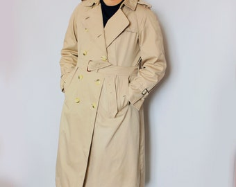 Burberrys Vintage Trench Coat Beige unisex Double Breasted Belted Waist men L