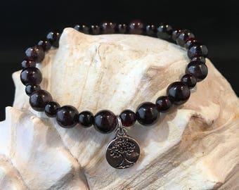 Red Cerise Garnet Crystal Gemstone Stretch Charm Bead Bracelet / Silver / Tree of Life / Tree / Plant