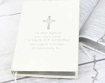 PERSONALISED Holy Bible. For Christening, Baptism, Confirmation, First Holy Communion, Wedding. Customised with Silver Message Text.