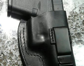 Handmade leather Glock 42 IWB holster, black high ride