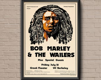 Bob Marley Poster, vintage music poster, reggae poster, bob marley vintage, vintage bob marley, vintage concert, bob marley concert
