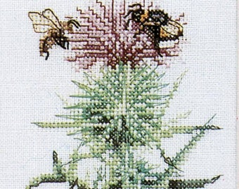 Marjolein Bastin, Cross Stich Kit, Thistle, Cirsium Vulgare, Butterfly, Bees, Lanarte, Holland, Gift for Her, Do It Yourself, Home Decor