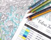 Color tracker, Colour tracker, Coloring book tracker, Colouring book tracker, Color chart, Pencil chart, Prismacolor chart