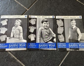 Collection 3 vintage boys 1940's knitting patterns booklets YEARS 2-3, 3-4, 6-8