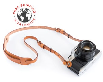 Leather camera strap (''Heritage'' (Caramel))
