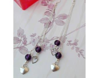 Long earrings, ultra violet earrings, heart earrings, beaded earrings, purple earrings, Mother's Day, mother Gift, gift for her
