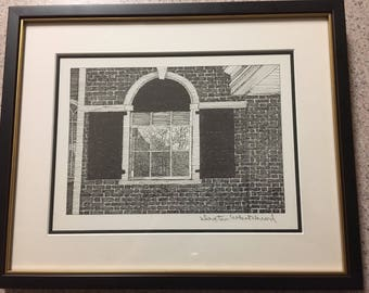 Vintage 1986 original pen and ink, pencil signed drawing of UVA architecture, by W. Dexter Whitehead a physicist/professor/artist at UVA.