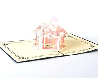 greeting card 3D carousel pink, gift idea, birthday card, invitation