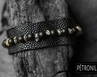 Leather woman onyx and pyrite bracelet