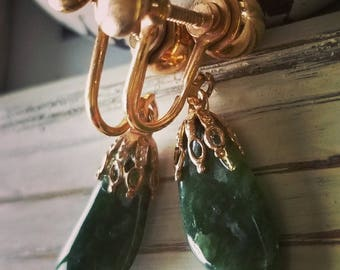 Estate Yellow Metal Screw-Back Dangle Earrings with Green Stones.