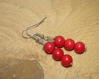 Round red howlite stone earrings
